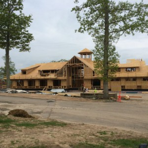 A view of the clubhouse from the front entry.  The porte cochere will be added when the timber framed roof arrives on site.