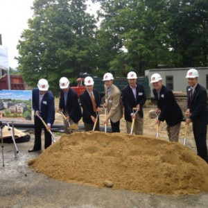 A group shot of the Madbury Common developers, Durham Town officials, and Kennebunk Savings Bank representatives