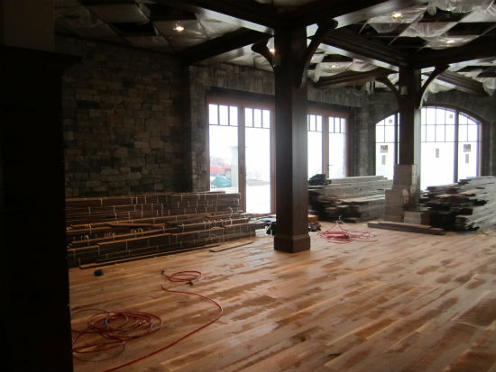 Inside the ding room where the unfinished walnut floor will get an oil-rubbed finish. Source:  TMS Architects