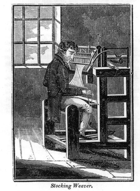"""A image of a """"seamer"""" hard at work at his loom.  Source:  J. Dennis Robinson"""