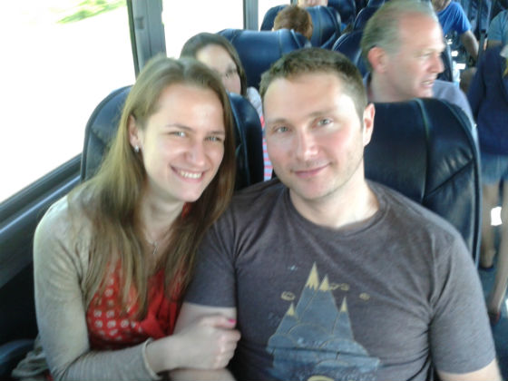 TMS Project Manager Kraig Kurtenbach and his soon-to-be wife Anya on the bus trip home.