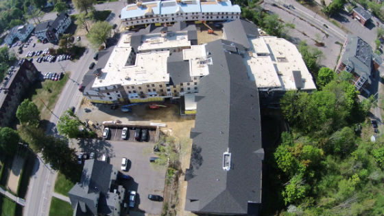 Another view from the drone of Madbury Commons nearing completion. Source: ProCon