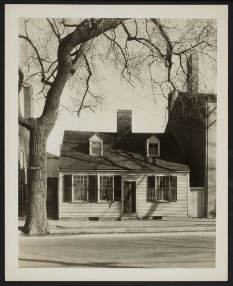 A 1930's era photograph by architect John Mead Howells of the Federal cape built of wood as an exemption to the Brick Act of 1814 and currently being revived. Source: Portsmouth Athenaeum