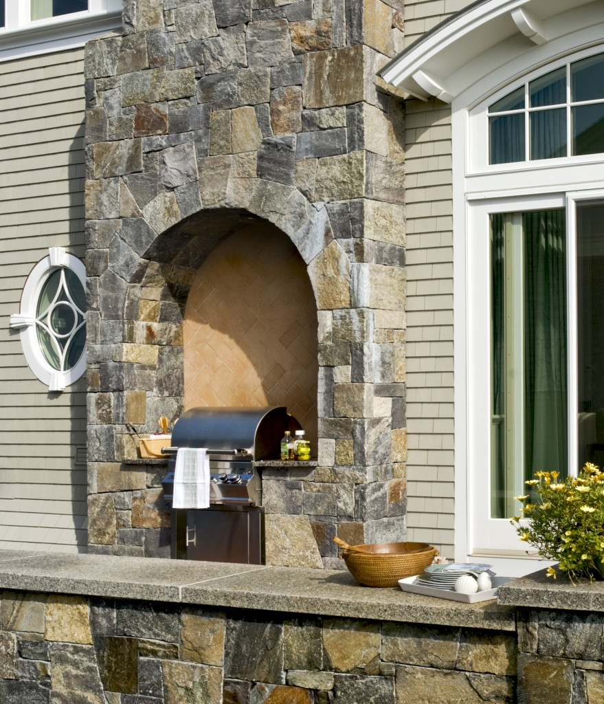 Outdoor grill stone work
