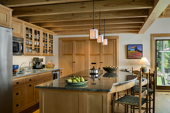 Lakeside Maine cottage designed by TMS Architects with fir used for cabinets. The material is very suitable for the Maine woods location. Source: Karosis Photography