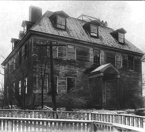 "The 1730 George Jafffrey Mansion once stood on Daniel Street in Portsmouth. This ""haunted house"" architectural design is not recommended for superstitious customers. (Courtesy Strawbery Banke Collection)"