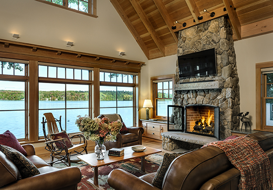Enjoy your guests around this fire in a TMS-designed Maine cottage. Source: Karosis Photography