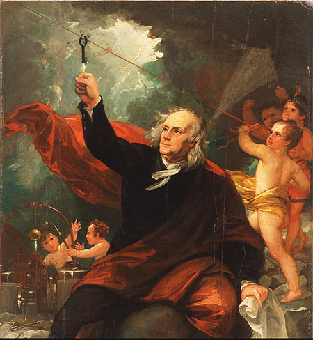 Benjamin Franklin Drawing Electricity from the Sky c. 1816 by Benjamin West (The Philadelphia Museum of Art).