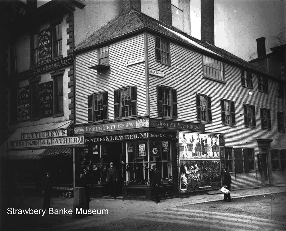 Lafayette Newell's studio formerly at the corner of Fleet and Congress streets in Portsmouth showing the large windows for lighting on the second floor. (Strawbery Banke Museum Collection)
