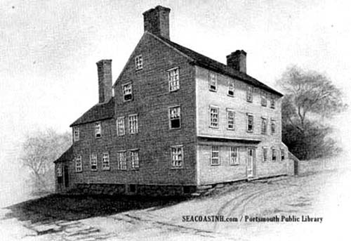 An illustration of the William Pitt Tavern, now part of Strawbery Banke Museum, by Helen Pearson from VIGNETTES OF PORTSMOUTH